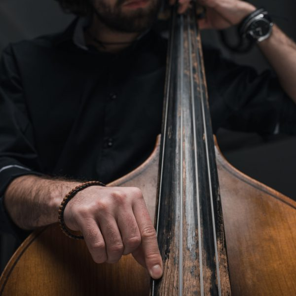 cropped shot of man playing double bass on black